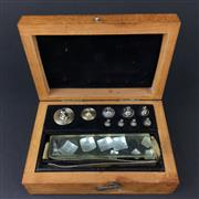 Sale 8567 - Lot 800 - Complete Set of Vintage Plated Brass Laboratory Masses in a timber case