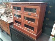 Sale 8566 - Lot 1291 - Six Glass Panel Drawer Chest with Shell Handles ( Missing Glass To One) (100)
