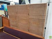 Sale 8593 - Lot 1047 - Wicker Three Panel Wall Screen