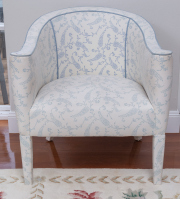 Sale 8677B - Lot 671 - A set of four allover upholstered tub chairs with blue cord piping, Height of back, 80cm, W x 70cm