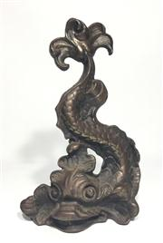 Sale 8706A - Lot 77 - An antique 19th century victorian koi devil fish / dolphin cast iron door stop, made from cast iron, H 33 x W 22 cm