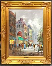 Sale 8945 - Lot 2077 - G. Cucciardi Paris Street Scene acrylic on canvas , 94 x 74cm (frame), signed lower left -