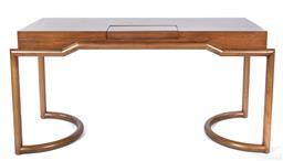 Sale 9140W - Lot 28 - A European custom built beech wood tea table with brass drainage tray and reversible timber cover height 72cm x Width 148cm x Dept...