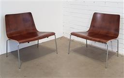 Sale 9171 - Lot 1075 - Pair of oversized ply lounge chairs over chrome base (h:71 x w:69cm)