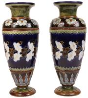 Sale 7978 - Lot 12 - Doulton Lambeth Pair of Stoneware Vases by Emily J Partington
