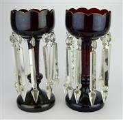 Sale 8139 - Lot 87 - Ruby Glass Pair of Lustres