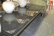 Sale 8251 - Lot 1075 - Chrome Base Black Glass Top Coffee Table