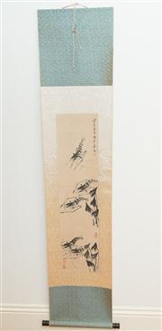 Sale 8308A - Lot 134 - A Chinese water colour painting scroll of shrimps, signed, L 187cm, W 40cm