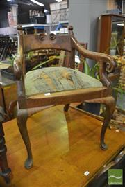 Sale 8390 - Lot 1028 - An Unusual Early 20th Century Carved Maple Armchair with drop in seat on cabriole legs