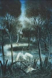Sale 8713 - Lot 563 - Kevin Charles Pro Hart (1928 - 2006) - Waterbirds 59 x 39cm