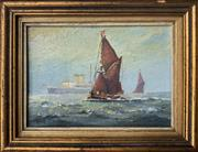 Sale 8969 - Lot 2003 - Artist Unknown - Maritime Scene: Austrian Sail Boats and Steamer oil on on board, 12 x 16cm (frame), initialled C.M lower left