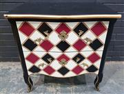 Sale 8996 - Lot 1005 - French Style Harlequin Pattern Bombe Chest of Drawers (H: 81 x W: 81 x D: 51cm)