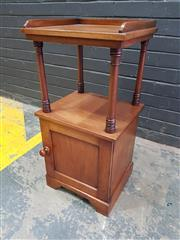 Sale 9048 - Lot 1074 - Victorian Mahogany Bedside Cabinet, by Heal & Sons London, with gallery top, open shelf & small cupboard below (H:80 W:38 D:34cm)