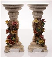 Sale 9049 - Lot 24 - Capodimonte Pair of Footed Pedestals (chips to flowers and one to rim) (H: 58cm)