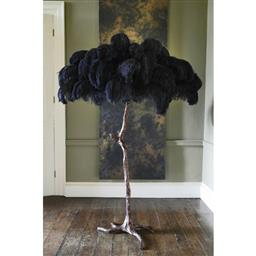 Sale 9140W - Lot 11 - A Becker Minty Ostrich feather floor lamp with goldtone brass dipped base and  black feathers Approx Height 200cm, RRP $11,950