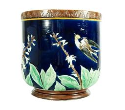 Sale 9135H - Lot 179 - Antique English majolica large cobalt blue ground jardiniere decorated with birds and flowers probably by Joseph Holdcroft. C 1870 (...