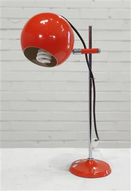 Sale 9151 - Lot 1050 - Orange metal ball form table lamp (h:65cm)