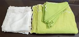 Sale 9165H - Lot 190 - A set of green linen napiery together with white linen napkins.