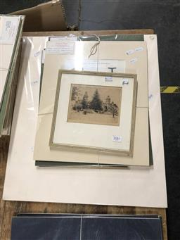 Sale 9172 - Lot 2081 - 4 hand coloured antique cooper engravings of surgical tools, a Hardy Wilson lithograph of Winbourne Mulgoa and etching of PLC Croydo...