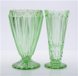 Sale 9185 - Lot 77 - A large depression glass vase together with another (H:20cm and 20cm)