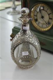 Sale 8086 - Lot 50 - Silver Plated & Glass Decanter with Pierced Foliate Design