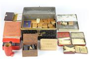 Sale 8445 - Lot 34 - Bone Mahjong Pieces with Other Vintage Gaming Wares incl Cribbage