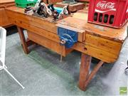 Sale 8493 - Lot 1032 - Vintage Hardwood Work Bench