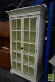 Sale 8532 - Lot 1132 - White Timber Bookcase with Two Glass Panelled Doors
