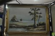 Sale 8548 - Lot 2144 - Artist Unknown Mountain Lake and Cottage Scene, acrylic on board, 74 x 105cm (frame size)