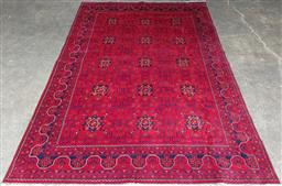 Sale 9126 - Lot 1008 - Afghani Khal Mohammadi Wool Carpet, with octagons & saw tooth border, in shiraz and navy tones (293 x 192cm)