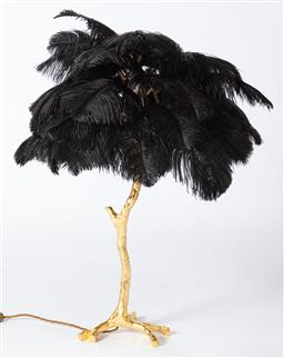 Sale 9140W - Lot 35 - A Becker Minty Ostrich Feather table lamp with gold dipped base and black feathers Approx Height 90cm, RRP$3,650