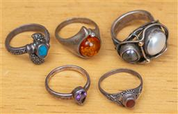 Sale 9165H - Lot 87 - A group of five silver stone set  rings.