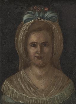 Sale 9184A - Lot 5067 - ARTIST UNKNOWN (C20TH) Girl with Blue Ribbon oil on academic board (frame: 45 x 36 x 3 cm) unsigned
