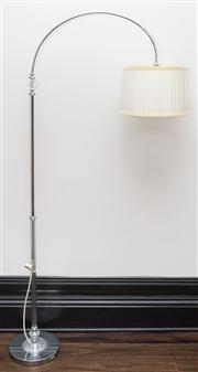 Sale 8222 - Lot 47 - A glass and chrome arc lamp with pleated cream shade, H 195cm