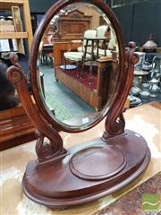 Sale 8444 - Lot 1018 - Victorian Mahogany Toilet Mirror, with carved supports & hinged compartment