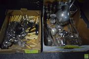 Sale 8563T - Lot 2511 - 2 Boxes of Metalwares incl Cutlery, Salt & Pepper Shakers, Ewer etc