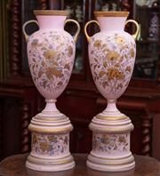 Sale 8804A - Lot 3 - A pair of Edwardian pink glass double handled vases on pedestals painted with flowers and gilt highlights, Height 63cm