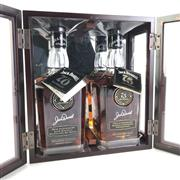 Sale 8830W - Lot 41 - Jack Daniels 2008 Prohibition Set Tennesse Whiskey in Original Cherry Wood Display Case with Unused and Unregistered Tags - 2 bott...