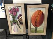 Sale 8841 - Lot 2009 - Pair of Floral Still Life Paintings by Val Landa