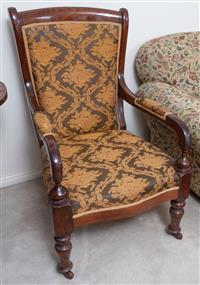 Sale 8963H - Lot 70 - A late C19th cedar armchair with long padded arms and turned legs, Height of back 96cm