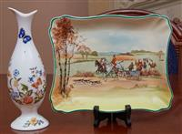 Sale 9080H - Lot 19 - A Royal Doulton fox hunting rectangular plate marked D5104  19cm x 22cm , together with an Aynsley bud vase in the cottage garden pa...