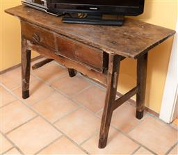 Sale 9120H - Lot 190 - A Georgian oak table of peg construction with apron and two drawers, (distressed) Height 75cm x Width 120cm x Depth 44cm