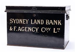 Sale 9130E - Lot 84 - A black painted twin handled document box marked to front, Sydney Land Bank & F. Agency Co.y Ltd, Height 31cm x Width 47.5cm x Dep...