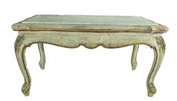 Sale 9135H - Lot 108 - A vintage French oak with fitted marble top coffee table - 39 Height x 76 Width x 45 Depth