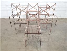 Sale 9151 - Lot 1427 - Set of 6 metal patio chairs (h:94 x w:452 x d:53cm)