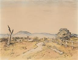 Sale 9195 - Lot 586 - LLOYD REES (1895 - 1988) O'Connell Landscape, 1980 hand-coloured lithograph, ed. 71/80 50 x 65 cm (frame: 88 x 104 x 3 cm) signed an..