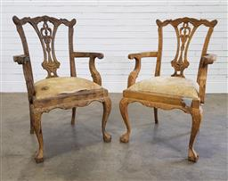 Sale 9196 - Lot 1056 - Pair of Georgian Style Armchairs, in a distressed mustard painted finish, raised on cabriole legs with-ball-and-claw feet (h:100 x w...