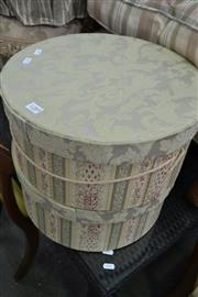 Sale 8115 - Lot 1289 - Set of 4 Upholstered Ottomans & Pair of Graduated Hat Boxes