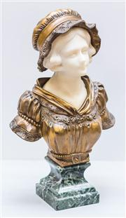 Sale 8287A - Lot 91 - An Affortunato Gory, (1895-1925) French bronze & white marble bust of a young lady in a lace bonnet, decorated with garlands of flow...