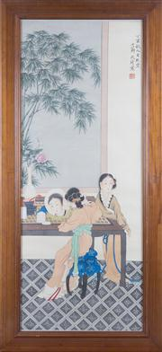 Sale 8308A - Lot 232 - A Framed Chinese water colour painting on silk of two girls sitting in front of a dressing table, signed, L 110cm, W 50cm.